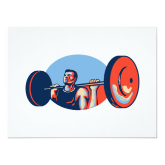 Weightlifter Lifting Weights Retro 6.5x8.75 Paper Invitation Card