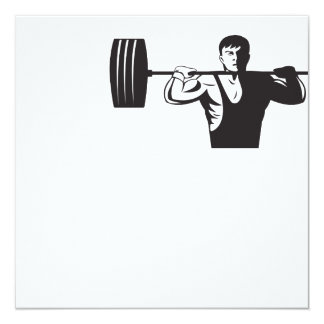 Weightlifter Lifting Weights Retro 13 Cm X 13 Cm Square Invitation Card