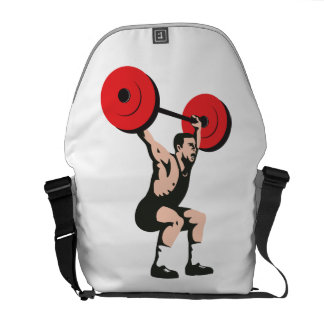 Weightlifter Lifting Weights Retro Courier Bags