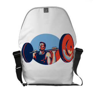 Weightlifter Lifting Weights Retro Commuter Bags