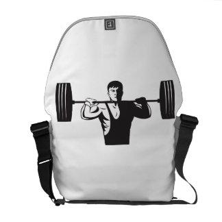 Weightlifter Lifting Weights Retro Messenger Bag