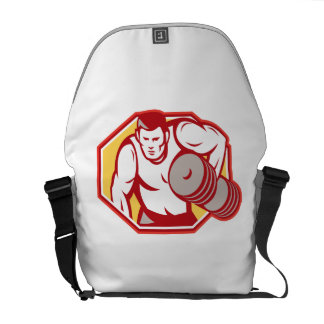 Weightlifter Lifting Weights Retro Messenger Bags