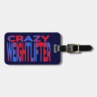 Weightlifter loco etiqueta de equipaje