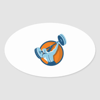 Weightlifter Swinging Barbell Back View Circle Ret Oval Sticker