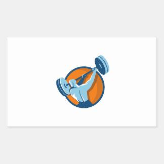 Weightlifter Swinging Barbell Back View Circle Ret Rectangular Sticker