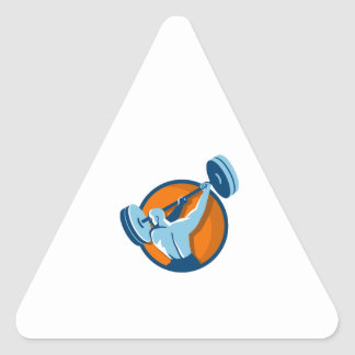Weightlifter Swinging Barbell Back View Circle Ret Triangle Sticker