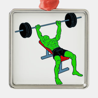 Weightlifter verde Benchpress Adorno Navideño Cuadrado De Metal