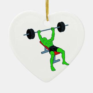 Weightlifter verde Benchpress Adorno Navideño De Cerámica En Forma De Corazón