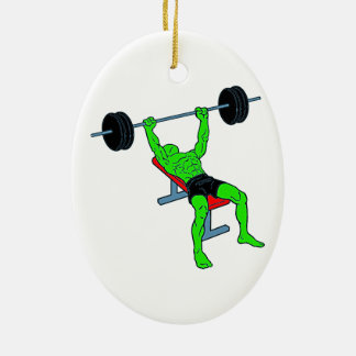 Weightlifter verde Benchpress Adorno Navideño Ovalado De Cerámica