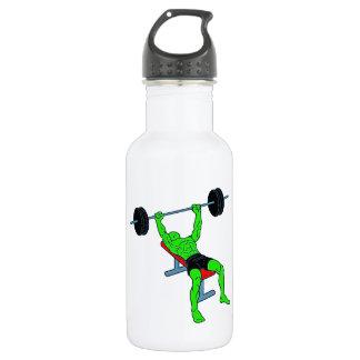 Weightlifter verde Benchpress Botella De Agua De Acero Inoxidable