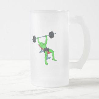 Weightlifter verde Benchpress Jarra De Cerveza Esmerilada