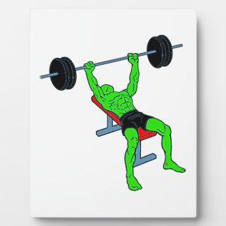 Weightlifter verde Benchpress Placas De Madera