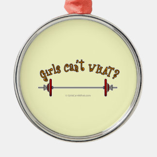 Weightlifting - Barbell Round Metal Christmas Ornament