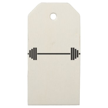 gridly Weightlifting Barbell Wooden Gift Tags