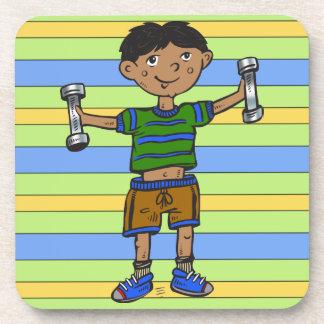 Weightlifting Boy Drink Coaster