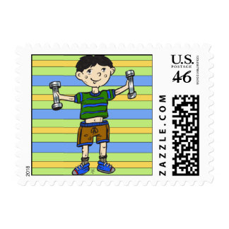 Weightlifting Boy Postage Stamp