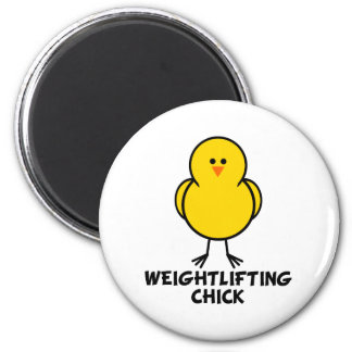 Weightlifting Chick 2 Inch Round Magnet