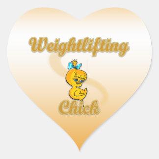 Weightlifting Chick Heart Sticker
