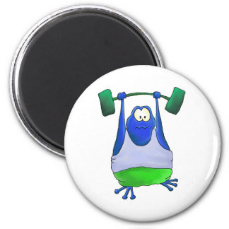 Weightlifting Frog 2 Inch Round Magnet
