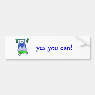 Weightlifting Frog Car Bumper Sticker