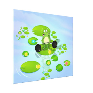 Weightlifting Frog Gallery Wrap Canvas