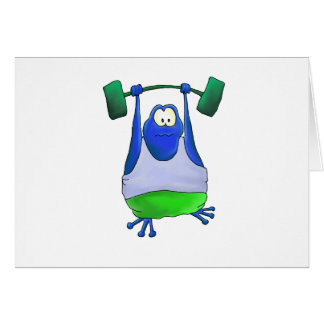 Weightlifting Frog Cards