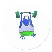 Weightlifting Frog Classic Round Sticker