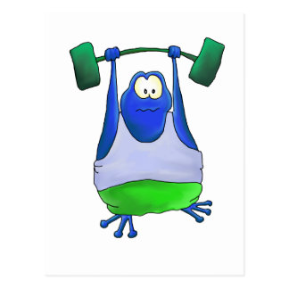 Weightlifting Frog Post Card