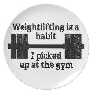 Weightlifting Habit Dinner Plate
