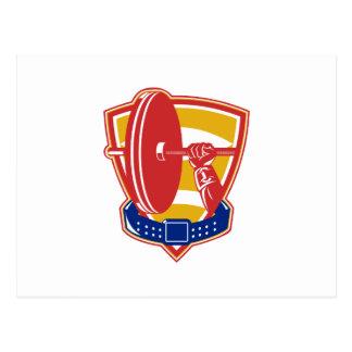 Weightlifting hand lift weights shield belt postcard