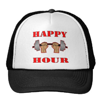 Weightlifting Happy Hour Barbell Trucker Hats