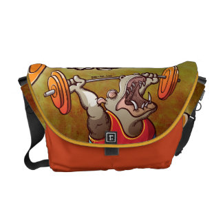 Weightlifting Hippopotamus Messenger Bag