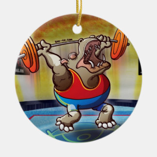 Weightlifting Hippopotamus Double-Sided Ceramic Round Christmas Ornament