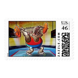 Weightlifting Hippopotamus Postage Stamp