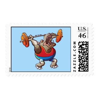 Weightlifting Hippopotamus Stamp