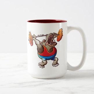 Weightlifting Hippopotamus Two-Tone Coffee Mug