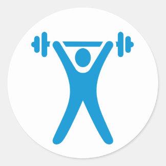 Weightlifting logo classic round sticker