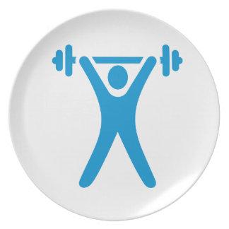 Weightlifting logo dinner plates