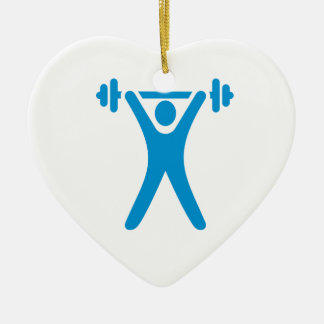 Weightlifting logo Double-Sided heart ceramic christmas ornament