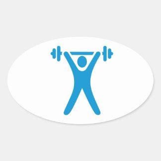 Weightlifting logo oval sticker