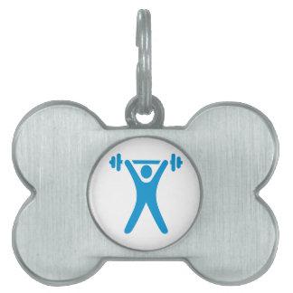 Weightlifting logo pet name tags