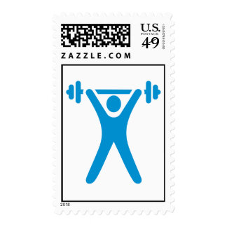 Weightlifting logo postage stamps