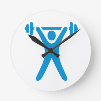 Weightlifting logo round clocks