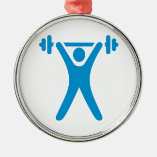 Weightlifting logo round metal christmas ornament