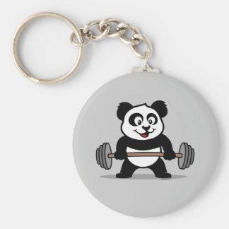 Weightlifting Panda Basic Round Button Keychain
