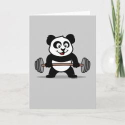 Standard Card with Cute Weightlifting Panda design