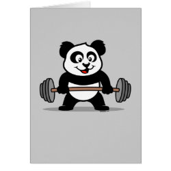 Greeting Card with Cute Weightlifting Panda design