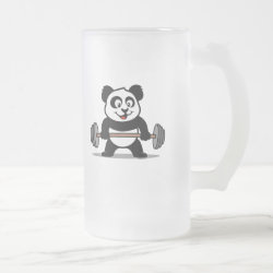 Frosted Glass Mug with Cute Weightlifting Panda design