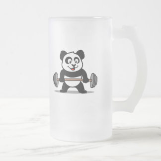 Weightlifting Panda Frosted Glass Beer Mug
