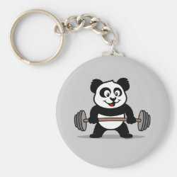 Basic Button Keychain with Cute Weightlifting Panda design